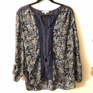 Navy Floral Front Tie Blouse